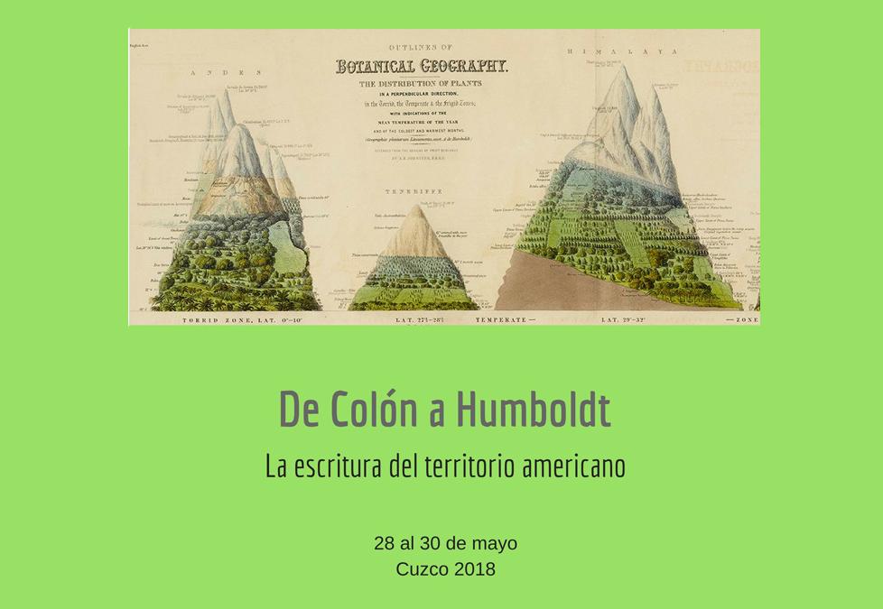 Congreso Internacional «De Colón a Humboldt: la escritura del territorio americano»