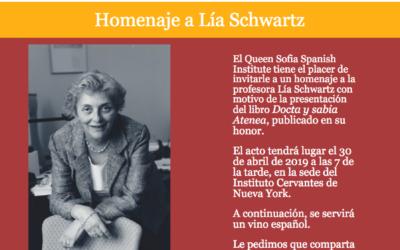 Homenaje a Lía Schwartz. Docta y sabia Atenea