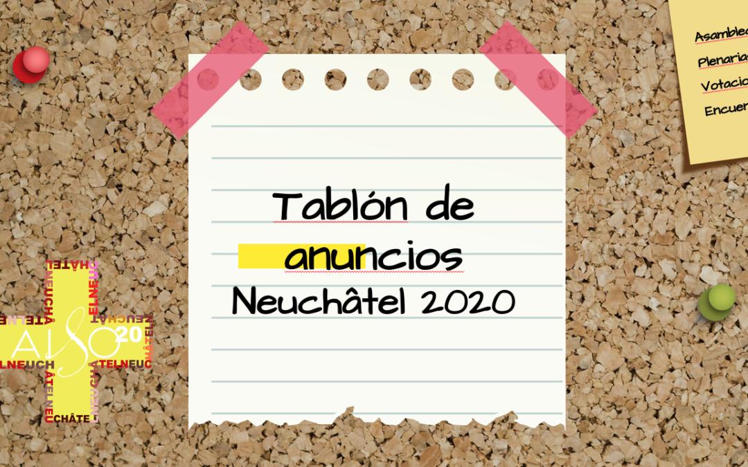 Tablón de anuncios Neuchâtel 2020